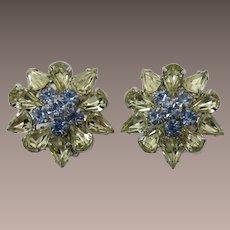 Pale Yellow and Blue Rhinestone Earrings