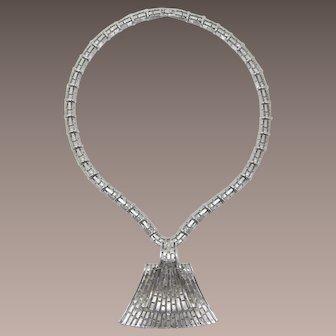 Chic Monet Long Silver-tone Modernist Necklace