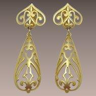 Modernist Fleur de Lys Style Dangling Earrings