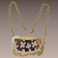 Bright Gold-tone Cut-Out Pendant Necklace