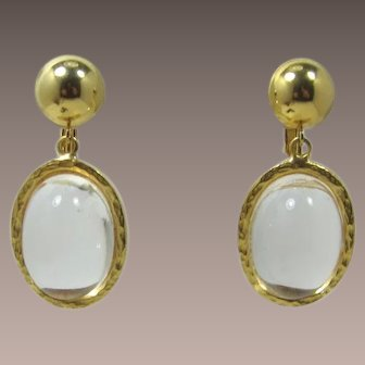 Gold-tone and Clear Lucite Bubble Dangling Earrings