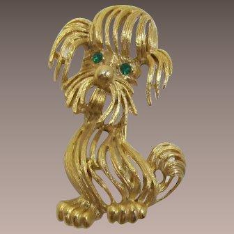 Cute Gold-tone Fluffy Dog Pin