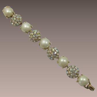Glitzy AB Rhinestone and Large Simulated Pearl Bracelet