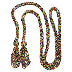 Long Multi-Colored Seed Bead Flapper Necklace