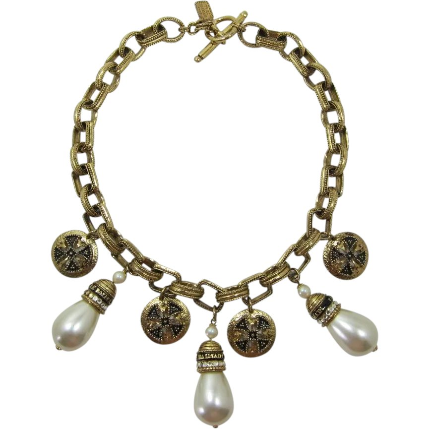 f58a00d4a69 Magnificent Pierre Balmain Couture Necklace with Imitation Pearls : Past  Perfection Vintage Costume Jewelry | Ruby Lane