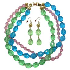 Napier Teal, Peridot and Pink Beaded Necklace & Earrings