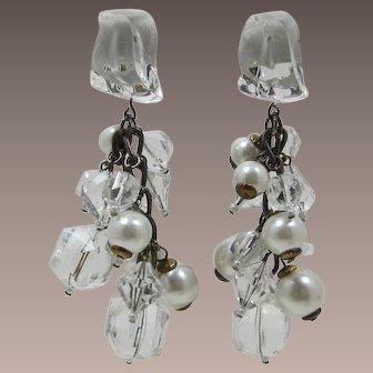 Long Dangling Acrylic Ice Cube and Pearl Earrings