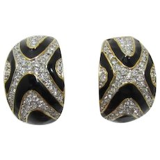 Dramatic Black and Clear Rhinestone Half Hoop Earrings