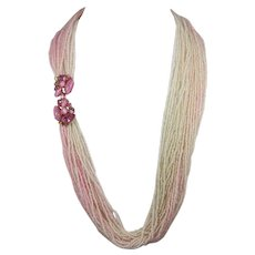 Pink Seed Bead Necklace with Hot Pink Rhinestone Clasp