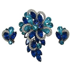 Beautiful Aquamarine and Capri Blue Rhinestone Brooch and Earrings Set