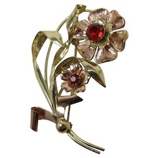 Beautiful Signed Linc Retro Gold-Filled Double Flower Brooch