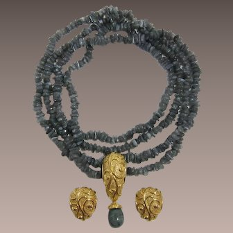 "Barrera for Avon ""Venetian Mist Collection"" Necklace, Pin/Pendant, Earrings-Book Piece"