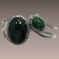 Silver-tone Hinged Bracelet with Green Cabochons