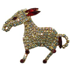 Donkey Figural Brooch Encrusted with AB and Red Rhinestones
