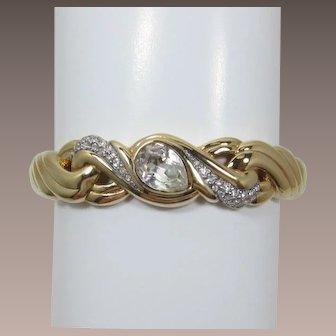 Gorgeous Swarovski Gold-tone and Clear Rhinestone Hinged Bracelet