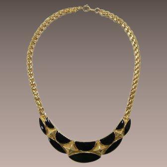 Trifari Gold-tone and Black Enameled Necklace