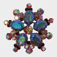 Gorgeous DeLizza and Elster Juliana Purple-Blue Vitrail and Red Aurora Borealis Brooch