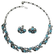 Lisner Aqua and Aquamarine Necklace and Earring Set