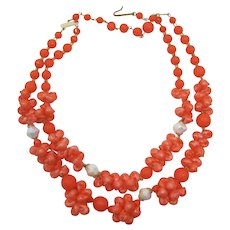 West Germany Orange-coral Sea Shell Necklace