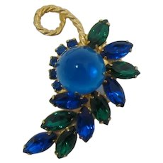DeLizza and Elster Juliana High-Domed Teal Brooch