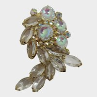 "DeLizza and Elster Juliana Clear and Iridescent ""Scooped"" Rhinestone Brooch"