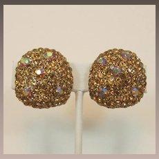 Sparkling Thelma Deutsch Colorado Topaz Rhinestone Earrings