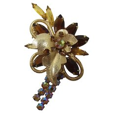 DeLizza and Elster Juliana Smoky Topaz and AB Rhinestone Brooch
