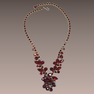 Brilliant DeLizza and Elster Juliana Ruby-Red Rhinestone and AB Beaded Necklace