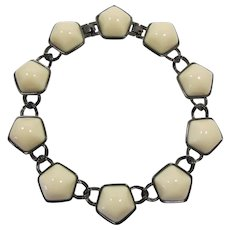 Gorgeous Monet Necklace with Huge Ivory Colored Cabochons