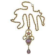 Gorgeous Trifari Long Pendant Necklace with Faux Opal Cabochons