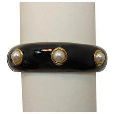 Cookie Lee Black Enameled Bracelet with Faux Pearls