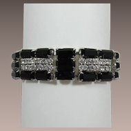 Beautiful Black Baguette and Clear Rhinestone Bracelet