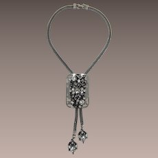 Unsigned Selro Flowered Bolo or Lariat Style Necklace with Rhinestones