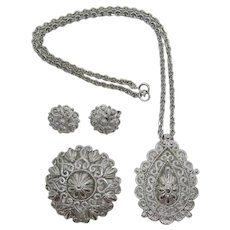 Bright Silver-tone Crown Trifari Set - Necklace, Brooch,  Earrings