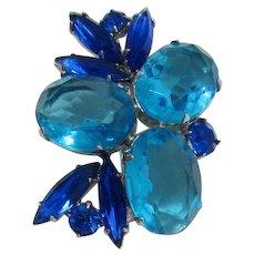 Aquamarine and Sapphire Blue Rhinestone Brooch