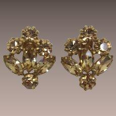 Colorado Topaz Navette and Chaton Rhinestone Earrings