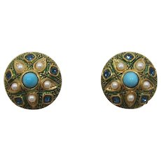 Boucher Imitation Pearl, Turquoise and Enameled Earrings