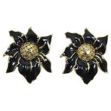 Whiting & Davis Large Black Enameled Flower Earrings