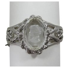 Beautiful Glass Intaglio Reverse Cameo Side-Hinged Bracelet