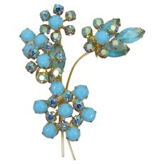 DeLizza and Elster Juliana Spring-time Aquamarine Flower Brooch