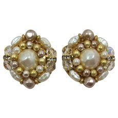Liz Claiborne Pearl and Crystal Earrings
