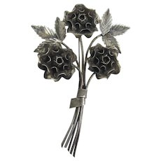 Retro Sterling Silver Flower Bouquet Artisan Brooch