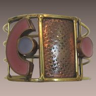 Hand-Crafted Mixed Metals and Enameled Artisan Bracelet