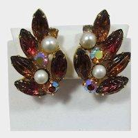 Smoky Topaz and Pink Bi-Colored Rhinestone Earrings