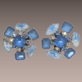 Frosted Blue and Swirled Blue Rhinestone Earrings