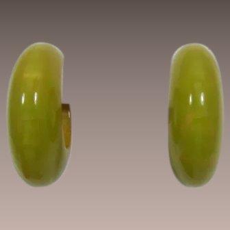 Swirled Pea Green Bakelite Hoop Earrings