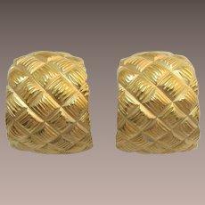 "Avon ""Quilted Drama"" Gold-tone Half Hoop Earrings in Original Box"