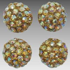 Sparkling Topaz Aurora Borealis High-Domed Buttons