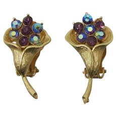 Pretty Gold-tone Flower Earrings with Purple and Purple AB Rhinestones