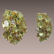 Bright Gold-tone and Sparkling Yellow Rhinestone Earrings